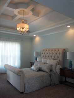 This Master bedroom offers a unique ceiling designed by Chase Murphy of Murphy Homes.