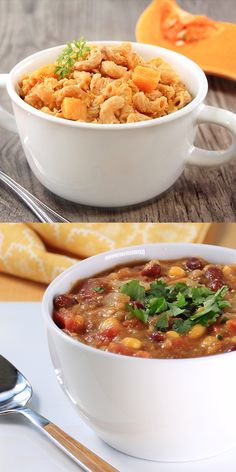 Healthy vegetarian slow-cooker recipes: Butternut Squash Mac & Cheese and Southwest Bean & Corn Soup from Hungry Girl!