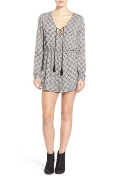 Lush Lace-Up Print Romper available at #Nordstrom