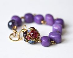 Purple Pebbles Brass Wire Wrapped Bracelet by Mayahelena on Etsy
