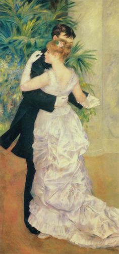 'Dance in the City' (1883) by Pierre-Auguste Renoir (1841–1919)  French artist who was a leading painter in the development of the Impressionist style. The dreamy and romantic scene in this masterpiece is utterly Victorian and evokes the elegance of a Victorian ballroom.