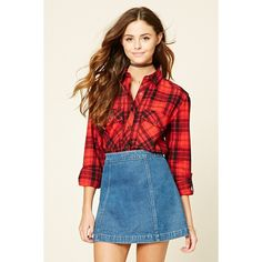 Forever 21 Women's  Tartan Plaid Flannel Shirt ($20) ❤ liked on Polyvore featuring tops, forever 21 shirts, tartan flannel shirt, plaid top, red flannel shirt and red plaid top
