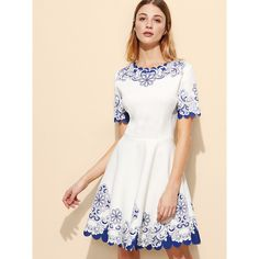 SheIn(sheinside) White Floral Scalloped Hem Skater Dress (710 UAH) ❤ liked on Polyvore featuring dresses, skater dresses, floral skater dress, short-sleeve maxi dresses, short white dresses and short party dresses