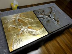 My sculptural works are made up of a series of complicated steps to build the texture. I then use hand-laid gold-leaf or acrylics with metallic pigments to create an illusion of sculpted metal....