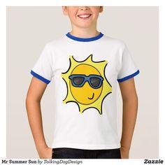 Mr Summer Sun T-Shirt Design by Talking Dog on Zazzle