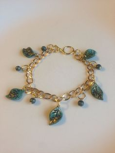 Faux Gold Chain and Turquoise Leaf Charm Bracelet | eBay