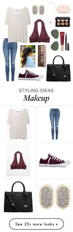 """""""Untitled #102"""" by allisonmflusche on Polyvore featuring Free People, Kendra Scott, Topshop, T By Alexander Wang, Converse, Too Faced Cosmetics, Ray-Ban, Urban Decay, Michael Kors and Marc Jacobs"""
