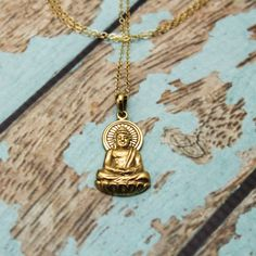 Long Layered Buddha Necklace in Bronze and 14K Gold Filled #BuddhaNecklace #layered #LongAndLayered #LayeredAndLong #YogaNecklace #bohemian #MinimalistNecklace #BohoChic #LayeredNecklace #TrendyNecklace