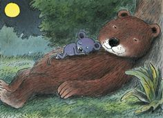 Mouse and bear in moonshine The Raven, Bear Art, Cute Bears, Textile Art, My Childhood, Illustration Art, Animal Illustrations, Illustrators, Dinosaur Stuffed Animal