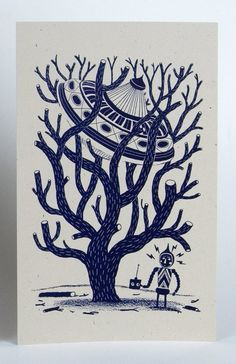UFO in a tree, letterpress print by YeeHaw Press of Knoxville