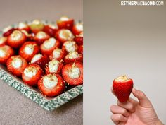 Cheesecake Filled Strawberries Recipe | Easy Party Finger Food -- made these for a birthday party and they were a HUGE hit! Also try making sugar cookie cups, filling with cheesecake mixture and topping with strawberries and graham cracker crumbs. BIG HIT!