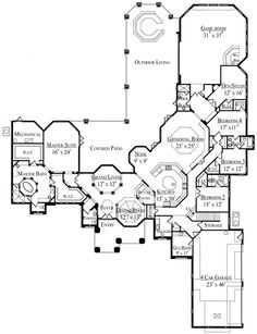 Awesome floor plan... Just 2 problems. 1- that is a lot of house to keep clean! And 2- I think it would take 20min to get from one side to the other! But beautiful otherwise;)