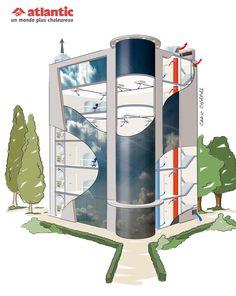 Comprendre la ventilation dans un bâtiment tertiaire. Illustration Cédric Chapal