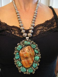 SANDOVAL vintage OLD PAWN NAVAJO SPINY OYSTER TURQUOISE NECKLACE