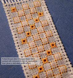 Squared Back Stitch orange bookmark Hardanger Embroidery, Embroidery Stitches, Ribbon Embroidery, Hand Embroidery Patterns Flowers, Hand Embroidery Designs, Crochet Coaster Pattern, Chicken Scratch Embroidery, Drawn Thread, Needlepoint Stitches