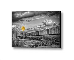 Urban Industrial Landscape Railroad Cars by PaintedTulipStudio