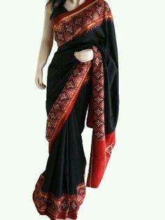 Black with marun border patola saree