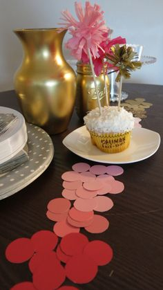 Fringe Cake Toppers & Paint Sample Confetti #partydecor #DIY #craft #holiday #birthday #pinkandgold #caketopper #tablescape.