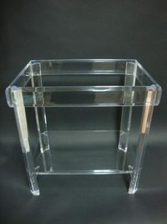 Two Tier Lucite Sidetable with Glass Top and Beveled Detail