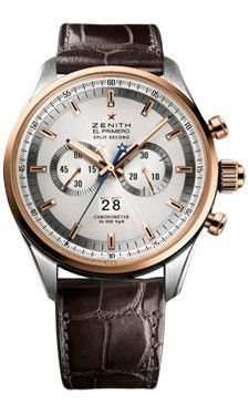 Zenith El Primero Rattrapante Watches. 44mm stainless steel and 18K rose gold case, transparent sapphire glass back, silver dial, automatic El Primero 4026 movement with hours and minutes, small secon