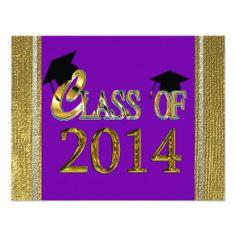 congratulations graduate 2014 purple and white | Class Of 2014 Purple & Gold Graduation Invitations