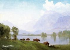 Buffalo Country by Albert Bierstadt - Oil Painting Reproduction - BrushWiz.com
