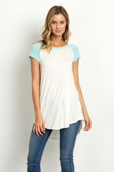 Complete your basics this season with this chic colorblock top. Short sleeves will keep you cool while the soft fabric keeps you comfortable. Simply style this top with jeans and flats for a complete look.
