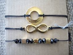 Bracelets with metal charms. Code: 23016/1 #jewellery #jewelleryfromourheart #bracelet #charms #tassels #luck #infinity #beads #jewelry #accessories