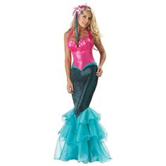 Wanna become a mermaid? Dress up in this mermaid costume and swim around gracefully at Halloween night. (Halloween Costumes for Teens)
