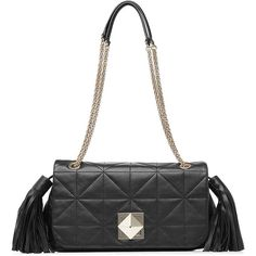 Sonia Rykiel Quilted Leather Shoulder Bag (8.591.420 IDR) ❤ liked on Polyvore featuring bags, handbags, shoulder bags, black, clasp handbag, tassel purse, quilted chain strap shoulder bag, quilted purses and quilted leather shoulder bag