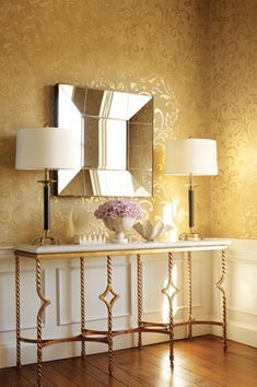 Metallic wallpaper and marble-top table