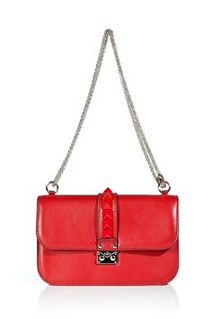 VALENTINO Red Rockstud Leather Shoulder Bag