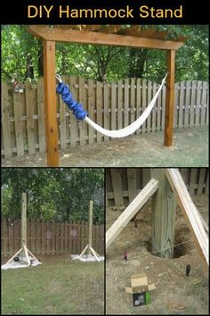 in your yard even without trees with this DIY hammock stand! Relax in your yard even without trees with this DIY hammock stand! Relax in your yard even without trees with this DIY hammock stand! Diy Hammock, Backyard Hammock, Hammock Stand, Backyard Patio, Backyard Landscaping, Landscaping Ideas, Diy Swing, Hammocks, Patio Hammock Ideas