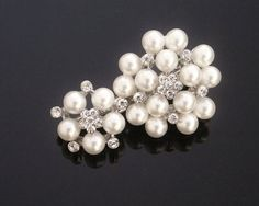 Wedding Ivory Pearl Hair Clip with Crystals Rhinestones, MEREDITH