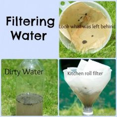 Filtering experiment, fun science investigation learning how to clean water with different types of filters.