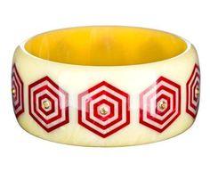 Marbled Cream Vintage Bakelite Bangle with Multi-Hexagonal Inlays and Smokey Quartz