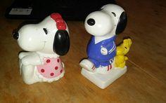 Vintage Snoopy & Girlfriend Porcelain/Ceramic Piggybanks Korea 1958,1966