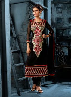 Imperial Georgette Black Churidar Salwar Kameez  www.ethnicoutfits.com Email : support@ethnicoutfits.com What's app : +918141377746 Call : +918140714515