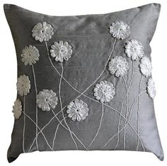 Luxury Grey Throw Pillows Cover, Silk Pillowcase, Square Ribbon Flower Pillows Cover – Floral Whispers Decorative Pillow Covers Accent Pillows Couch Toss Sofa Gray Silver Silk Pillow Cover Embroidered Home Decor Bedding Floral Whispers Modern Pillow Covers, Modern Pillows, Decorative Pillow Covers, Bed Covers, Cushion Covers, Grey Throw Pillows, Throw Pillow Covers, Accent Pillows, Throw Cushions