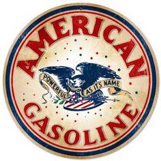 Amazon.com: American Gasoline Automotive Round Metal Sign - Victory Vintage Signs: Home & Kitchen