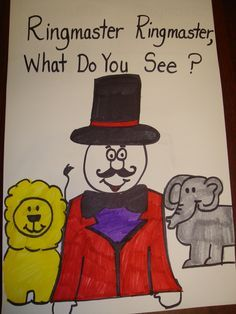 """Ringmaster ringmaster, what do you see? Make a book where each kid decides what you see """"I see a _________ looking at me"""" Circus Theme Classroom, Preschool Classroom, Preschool Activities, Preschool Circus Theme, Preschool Gymnastics, Kindergarten Art, Preschool Art, Classroom Ideas, Circus Activities"""