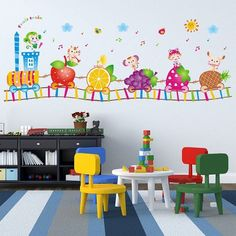 Cheap cartoon wall stickers, Buy Quality wall sticker directly from China stickers wall stickers Suppliers: Colorful Happy Fruit Animal Mini Train Waterproof Poster Kindergarten Children's Room Cartoon Wall Stickers Wholesale Home Decor Bedroom, Kids Bedroom, Room Kids, Kids Rooms, Daycare Room Design, Infant Room Daycare, Home Daycare Rooms, Kindergarten Classroom Decor, Decoration Stickers