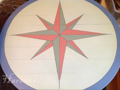 How to Design and Paint a Compass Rose.  Example uses Annie Sloan Chalk Paint ... Scandinavian Pink, Chateau Grey, Country Grey, and Old Violet.