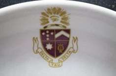 Delta Tau Delta Plate by momentofnostalgia on Etsy. Home & Living  Kitchen & Dining  Dining & Serving  Plates  shenango  restaurant ware  restaurantware  epsteam momentofnostalgia  eye rayed in glory  coat of arms  torse  fraternity  men  college  maroon gold