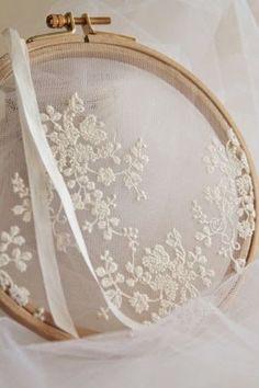 Wonderful idea for displaying beautiful lace~❥