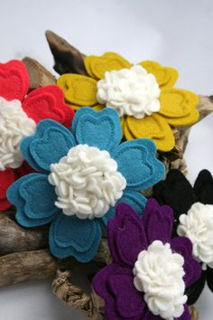 Love the felt flowers. by Square Lemon on Etsy