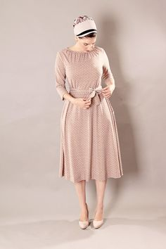 Beige classic modest midi dress with gatherings and dot print on Etsy, 93,59 €