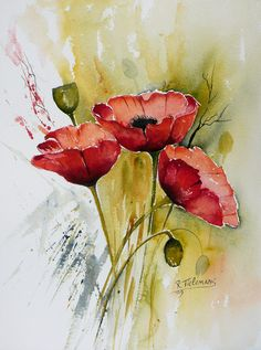 Rita Tielemans - Papavers by carrie Watercolor Poppies, Watercolor And Ink, Watercolor Paintings, Painting Abstract, Diy Painting, Acrilic Paintings, Watercolors, Flower Art, Art Drawings