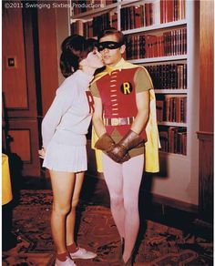 """This is a behind-the-scene photo of Donna as """"Susie"""" and Burt Ward as """"Robin"""" in the 1966 Batman TV show episodes """"The Joker Goes to School"""" and """"He Meets His Match, the Grisly Ghoul"""". Real Batman, Batman Tv Show, Batman Tv Series, Batman 1966, Batman Art, Batman Robin, Superman, Batgirl, Catwoman"""