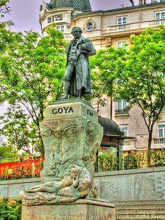 Spain. Prado Museum. Goya statue,  Madrid
